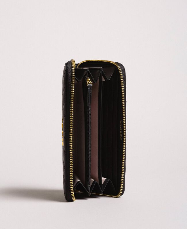 Portefeuille en cuir matelassé Noir Femme 191TA7198-03
