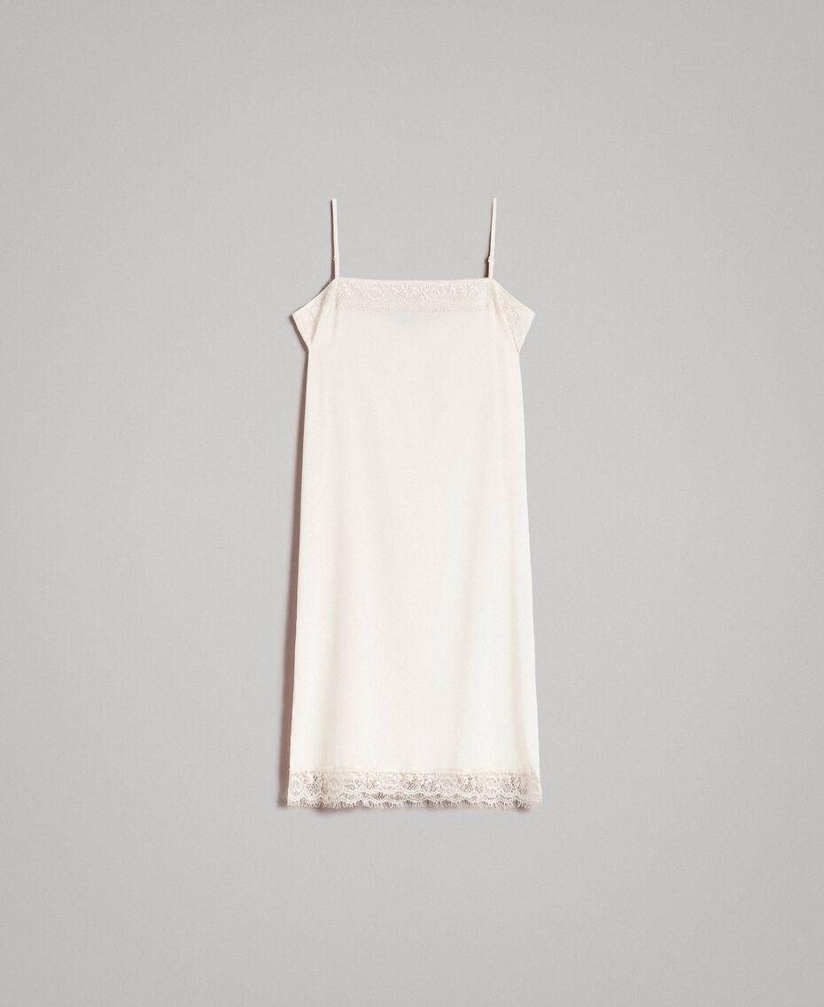 """Kleid im Unterkleidstil aus Crêpe de Chine mit Spitze """"Shell"""" Beige Frau 191MT2451-0S"""