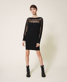 Knitted dress with tulle and lace Black Woman 202TP3380-01