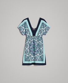Robe en crêpe de Chine avec imprimé foulard Imprimé Foulard Dressing Bleu Nuit Femme 191MT2123-0S