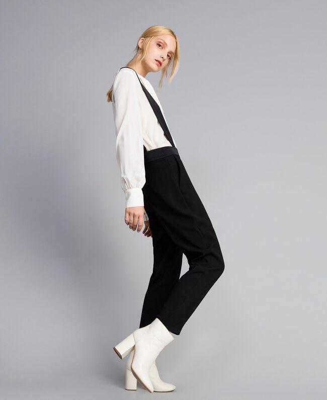 Drainpipe trousers with braces Black Woman SA82DE-03