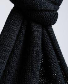 Strickschal mit Herz Zweifarbig Schneeweiß / Schwarz Frau AA8P5A-02