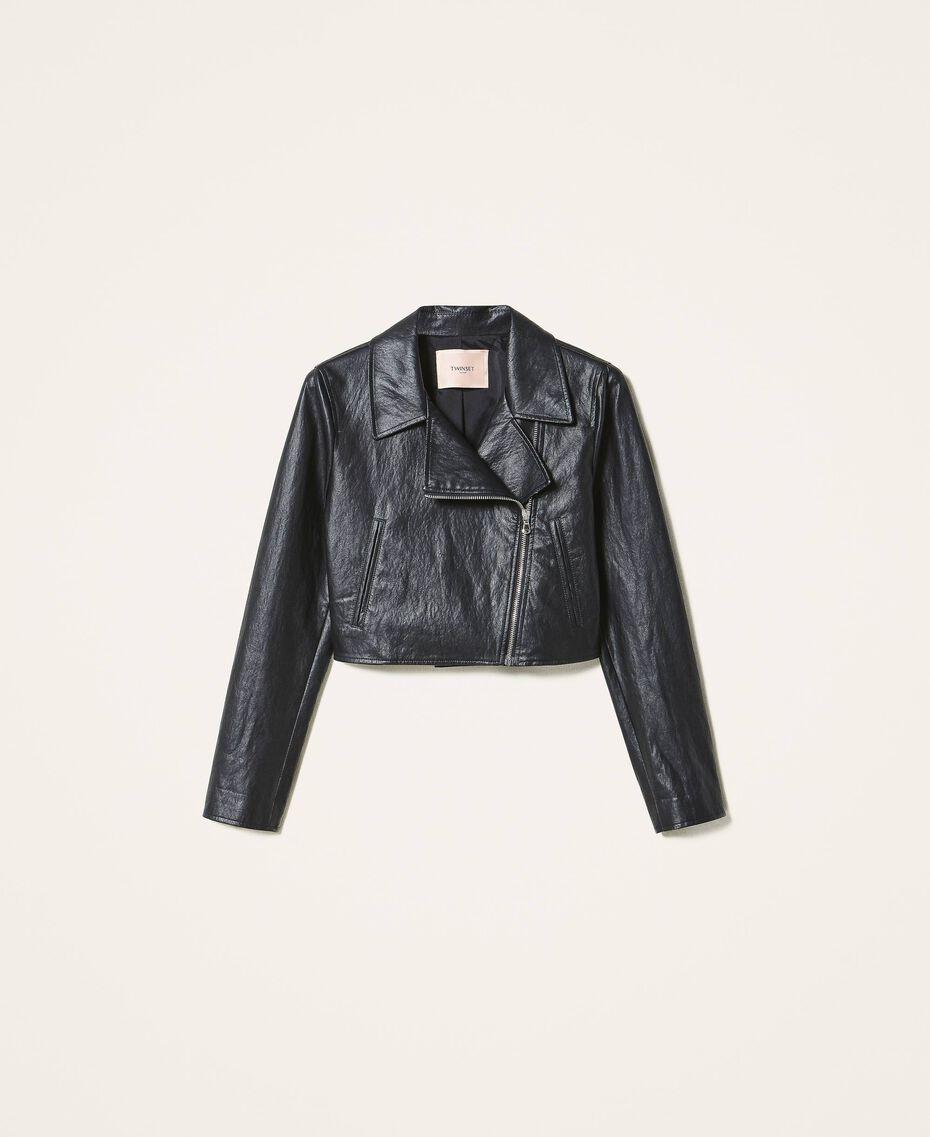 Укороченная куртка-косуха из искусственной кожи Черный женщина 202TP230A-0S