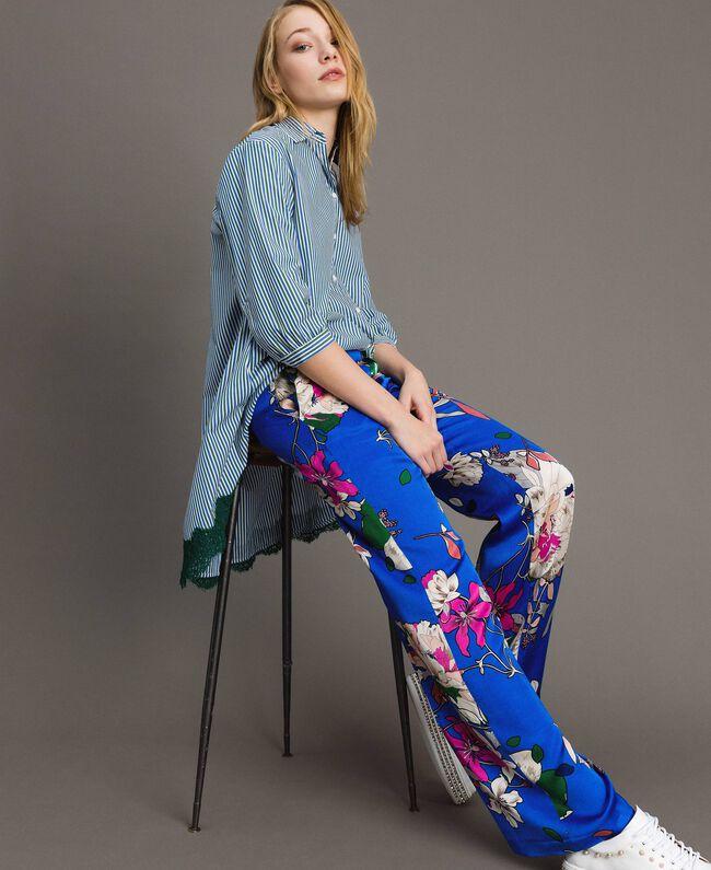 Floral satin palazzo trousers Wind Flower Cornflower Blue Print Woman 191TP2472-03