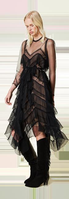10-shop-by-look-elegantes-kleid-tuell-plissees-rueschen-Damen-herbst-winter-2021