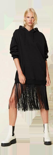 25-shop-by-look-kleid-sweatshirt-fransen-schwarz-Damen-herbst-winter-2021