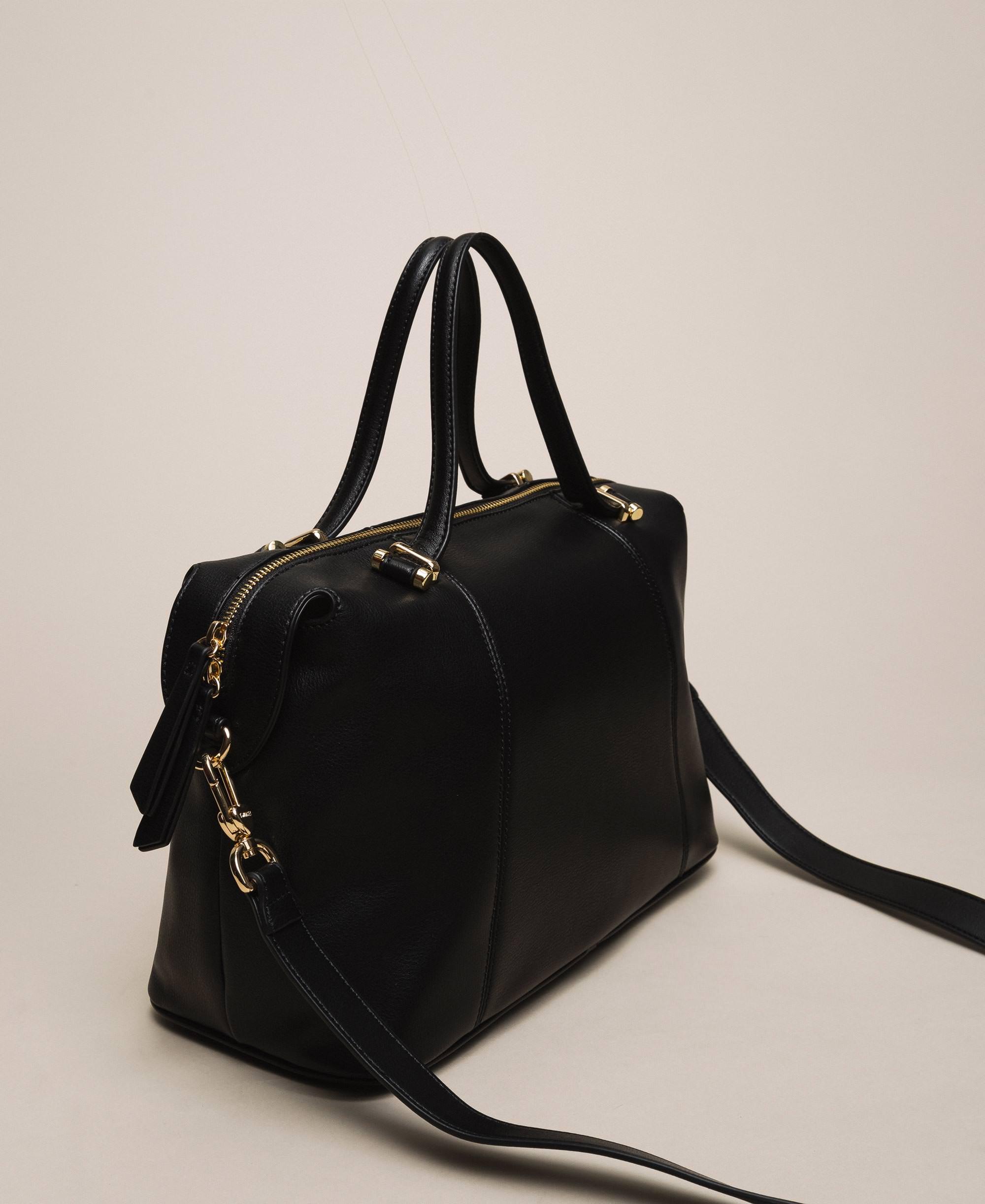 Ladies Girls PU Leather Handbag Shoulder Bag Two Colour Contrast Bag