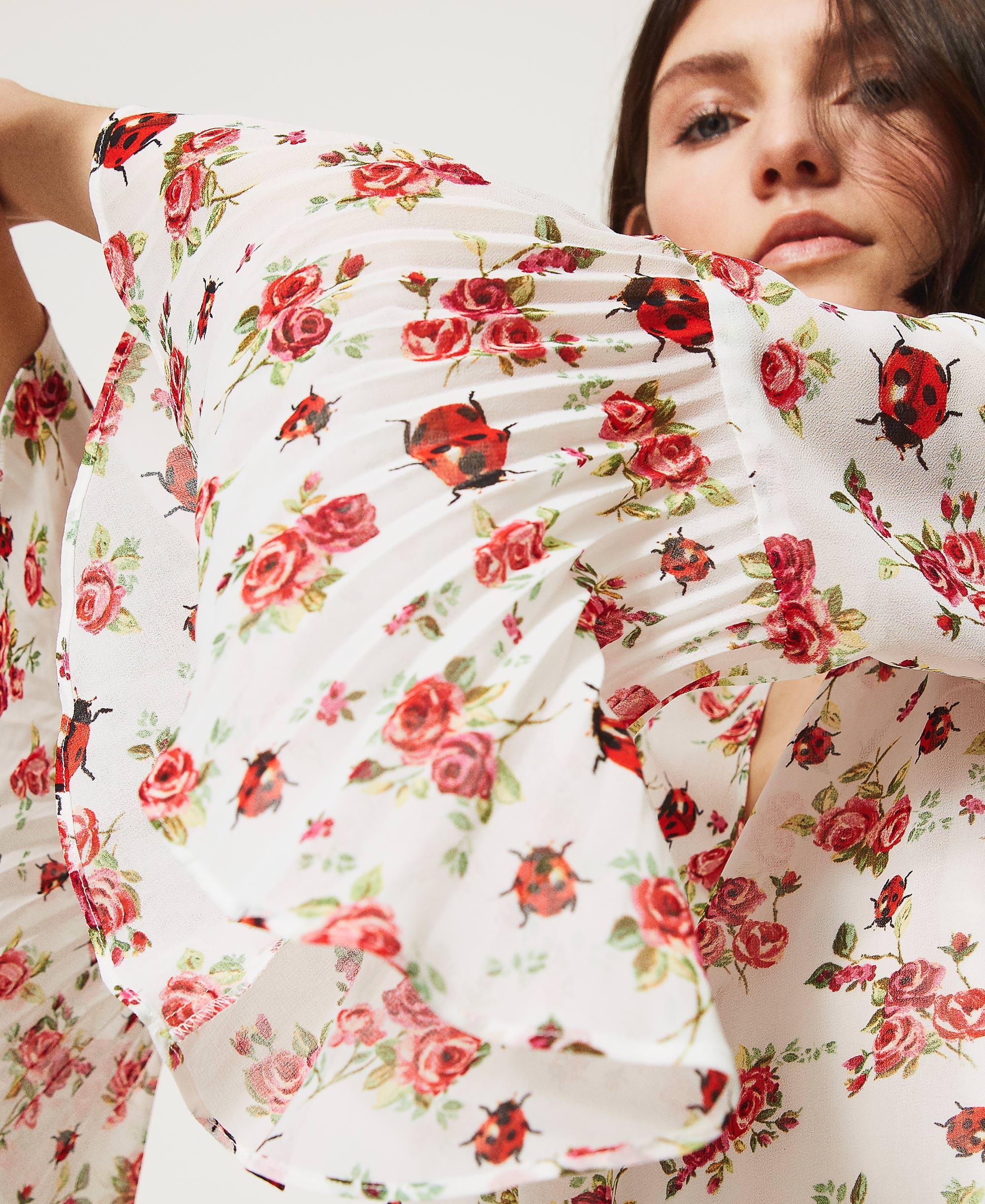 kleid mit blumen-marienkäfer-print