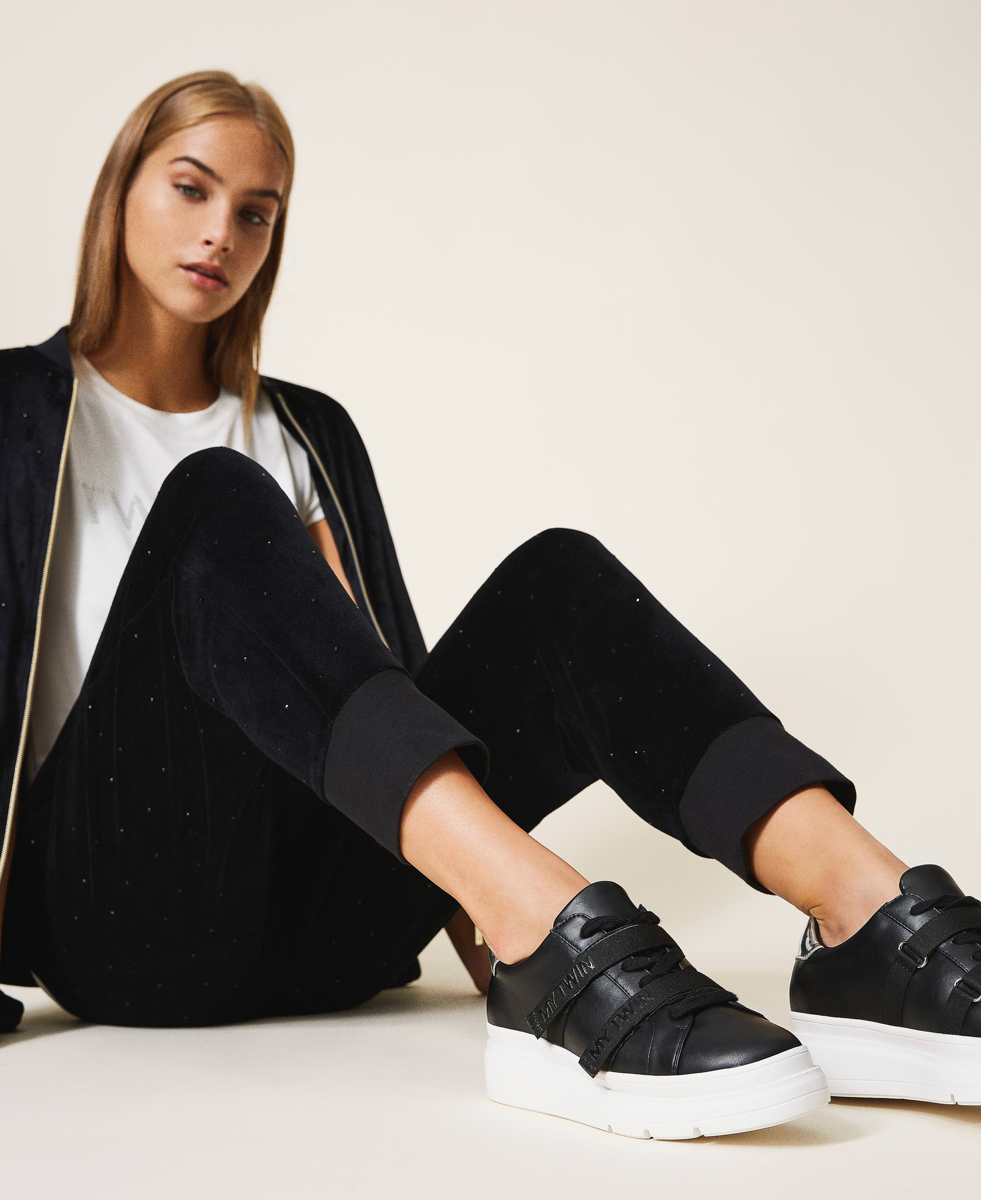 Faux leather trainers with logo Woman