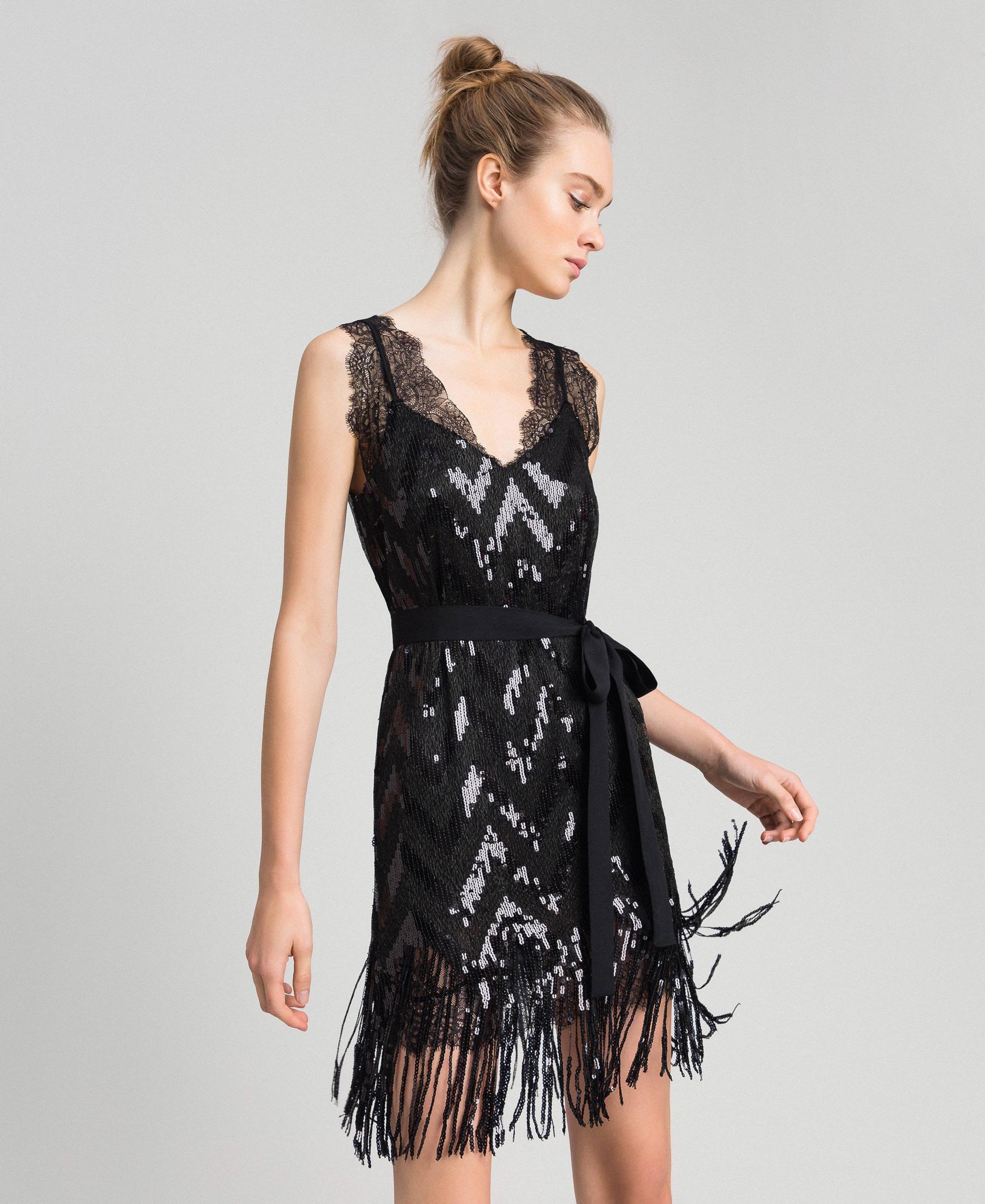 Allover-Pailletten-Kleid mit Fransen Frau, Schwarz  TWINSET Milano