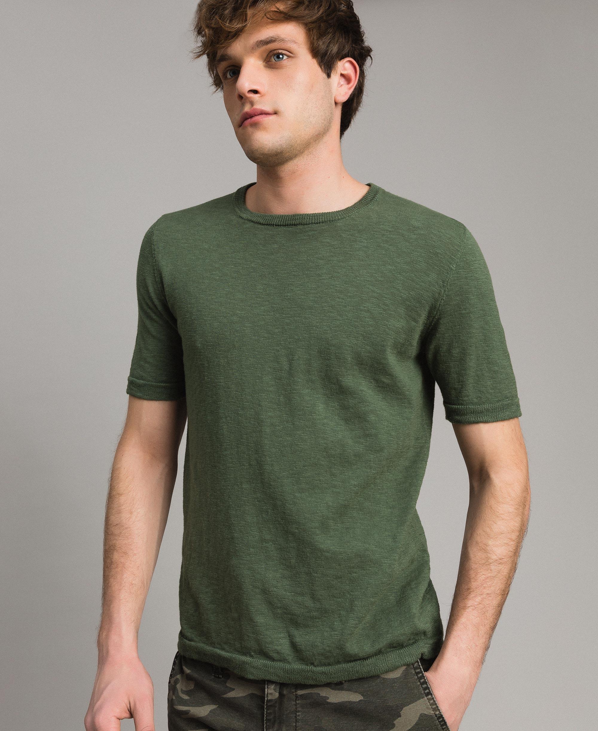 Cotton blend slub T shirt Man, Black | TWINSET Milano