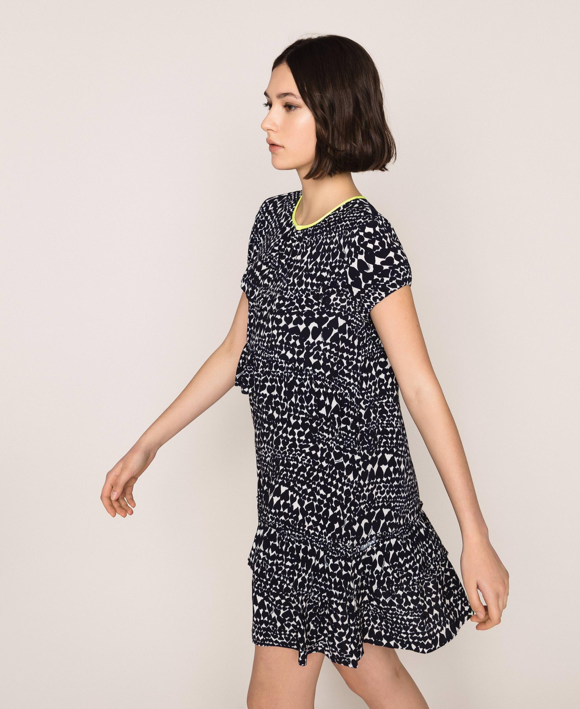 Kleid mit Herzprint und Volants Frau, Blau  TWINSET Milano