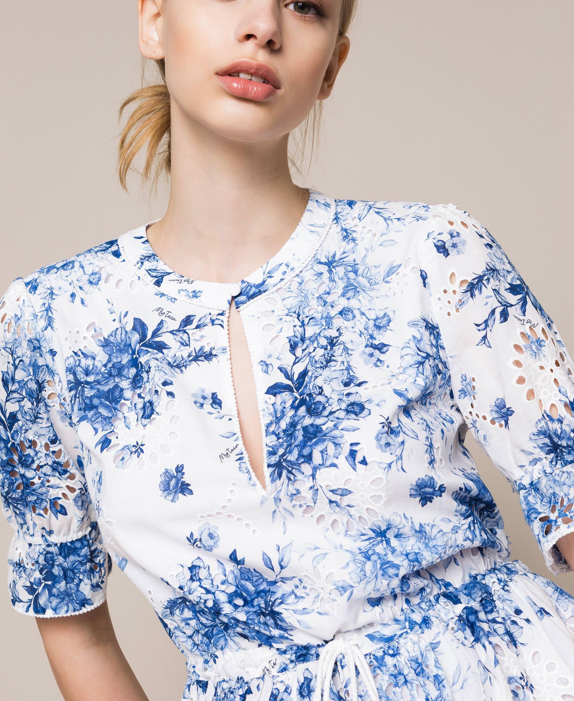 Luxus Kleid mit Lochstickerei und Print Frau, Blau  TWINSET Milano Ideen