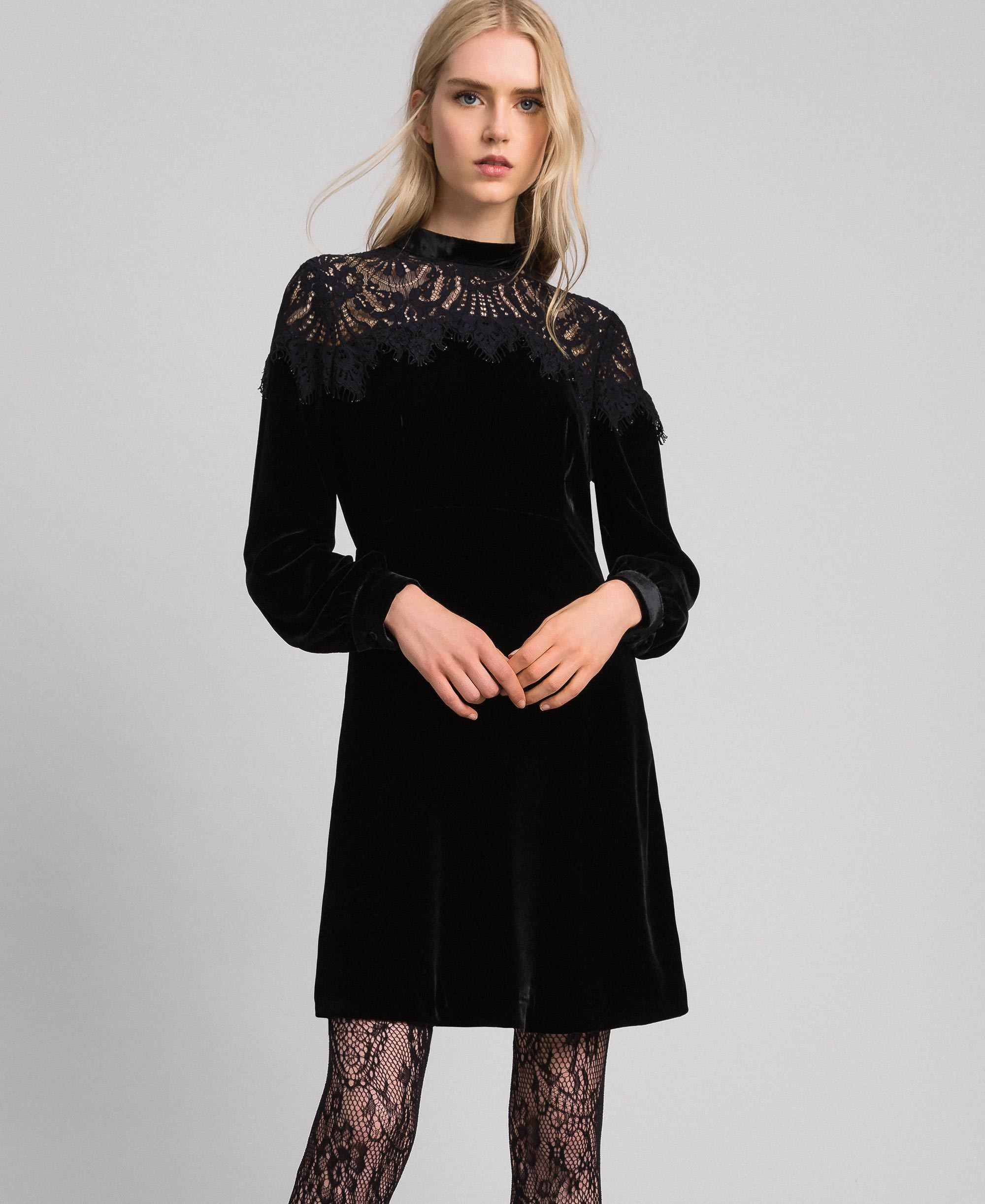 Kleid aus Samt mit Spitze Frau, Schwarz  TWINSET Milano