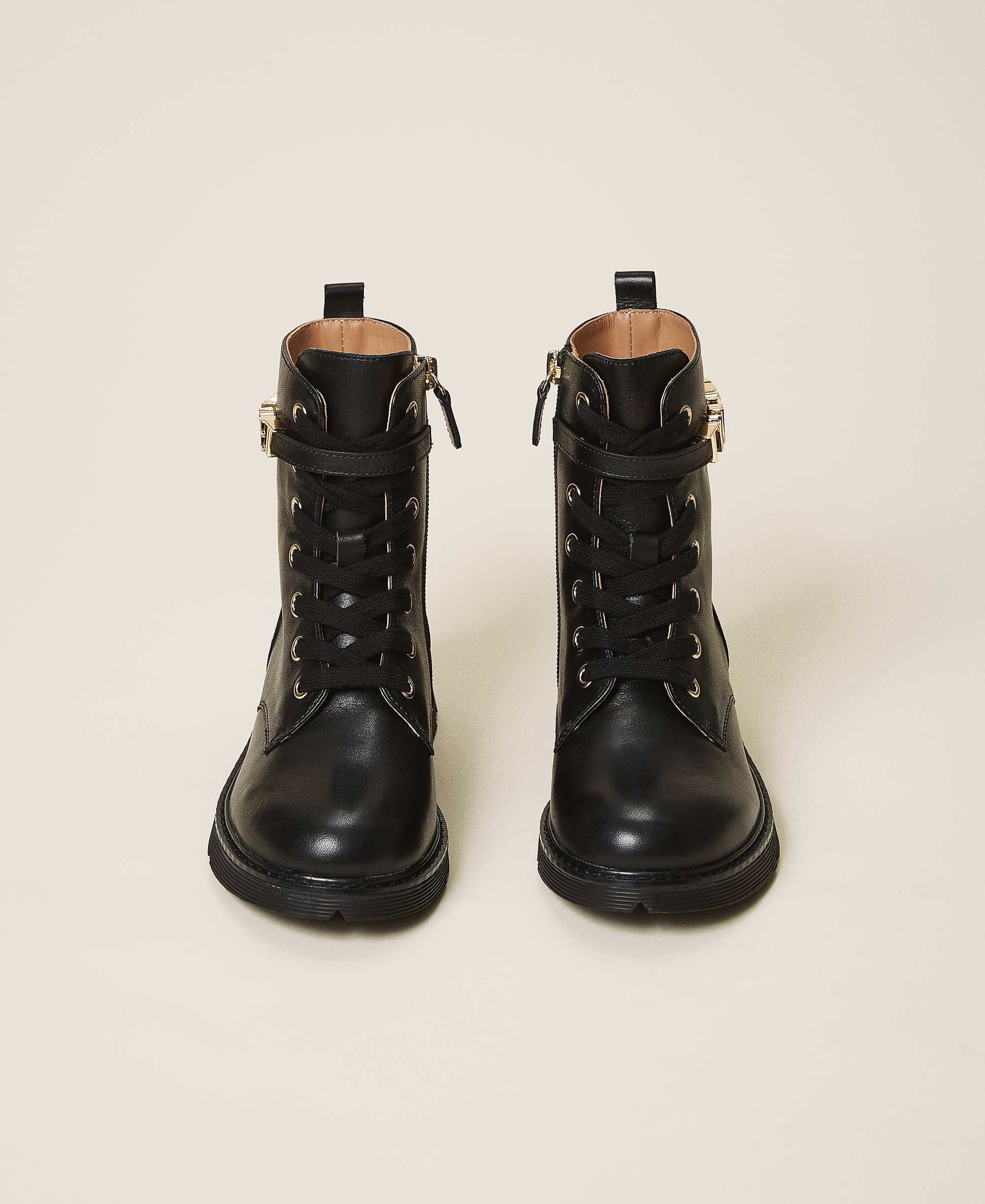 Leather combat boots with logo Child