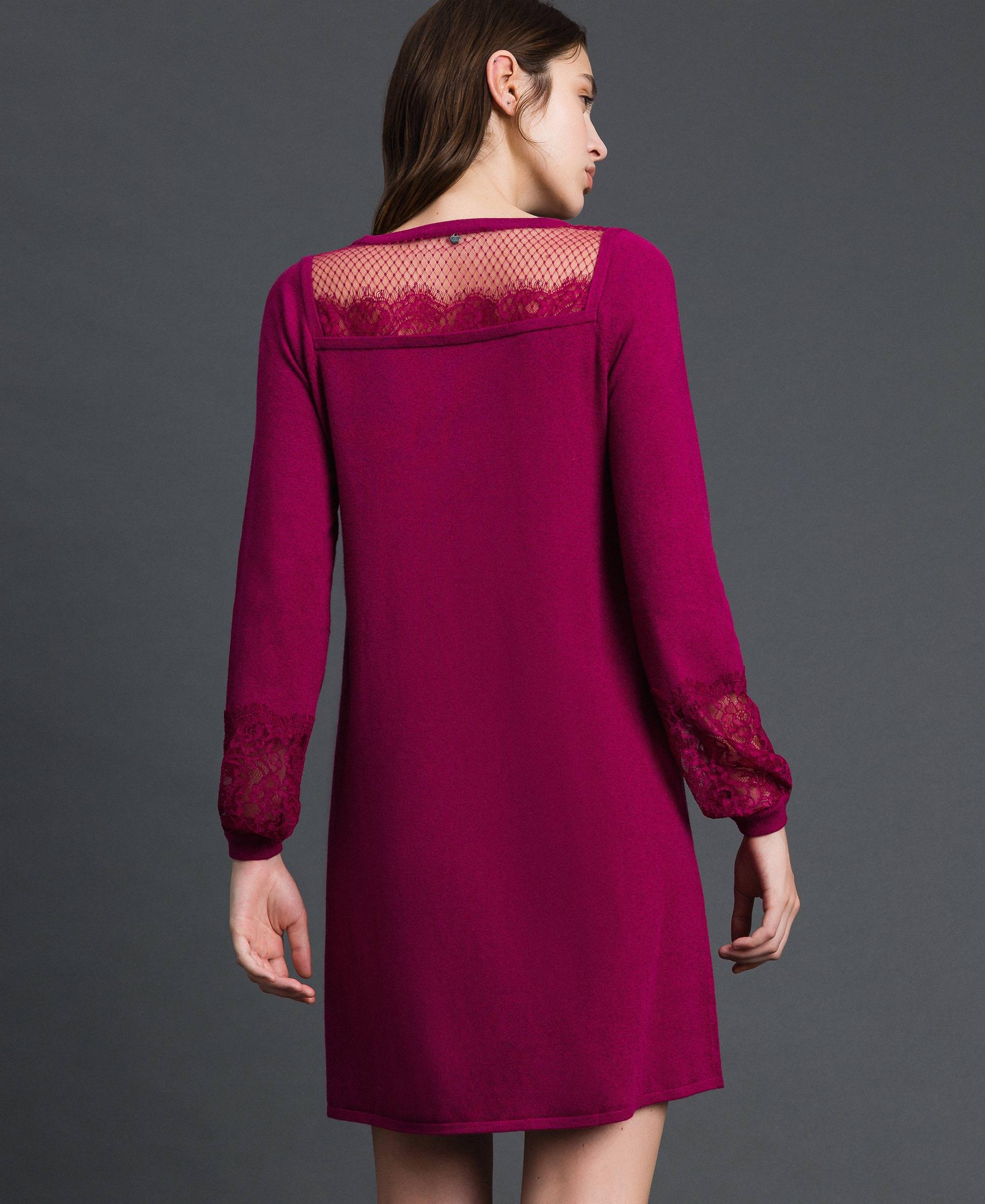 kleid mit spitze und plumetis-tüll frau, rot | twinset milano