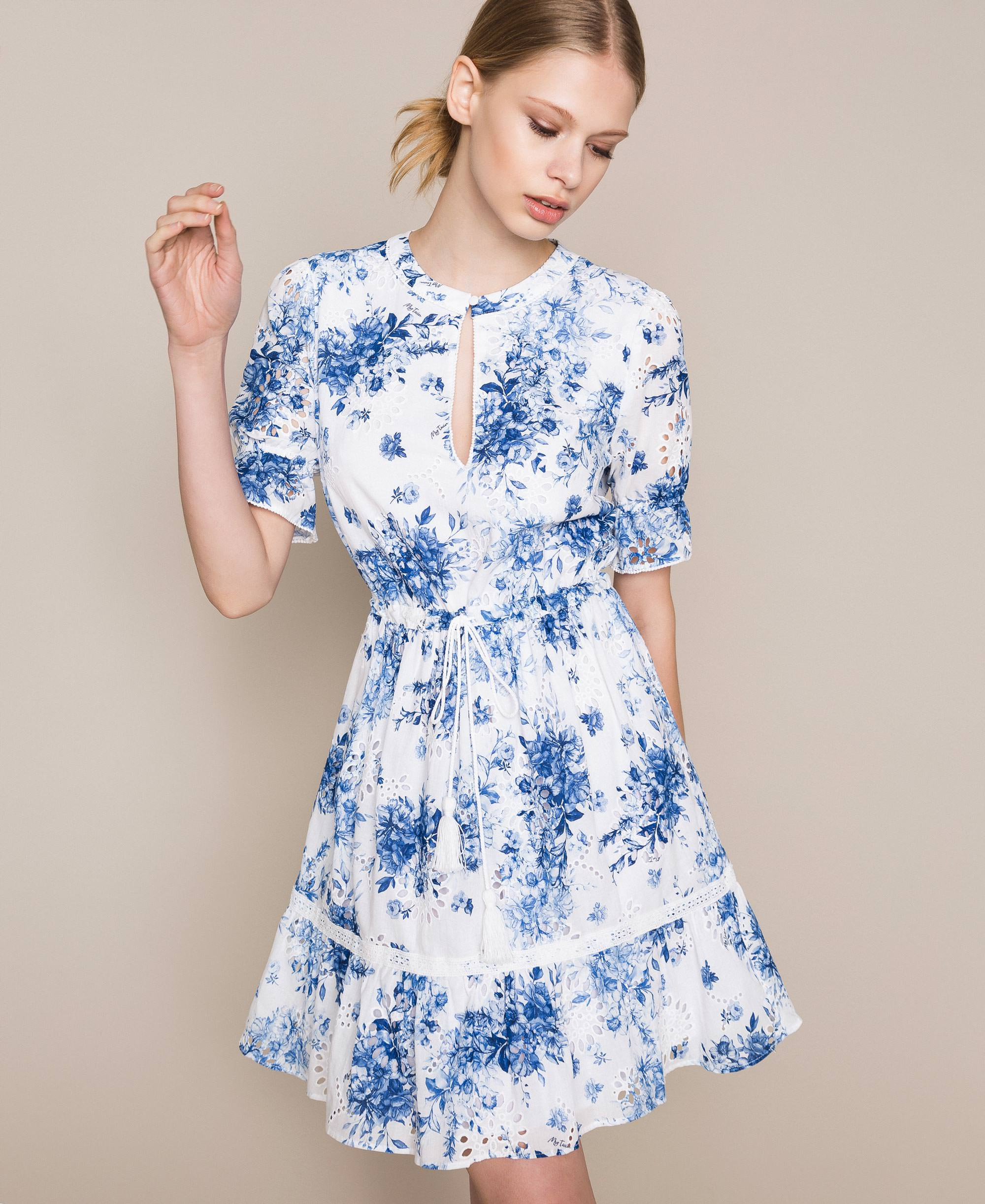 Kleid mit Lochstickerei und Print Frau, Blau | TWINSET Milano