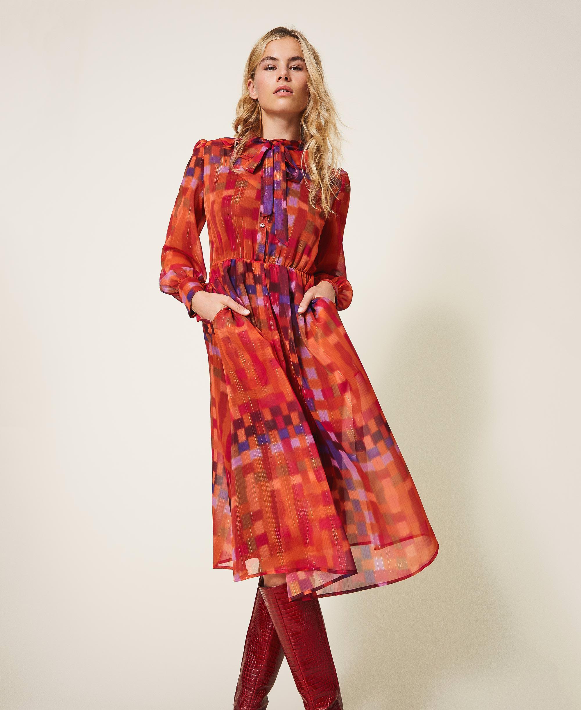Robe En Crepon Lurex Imprime Femme Rouge Twinset Milano