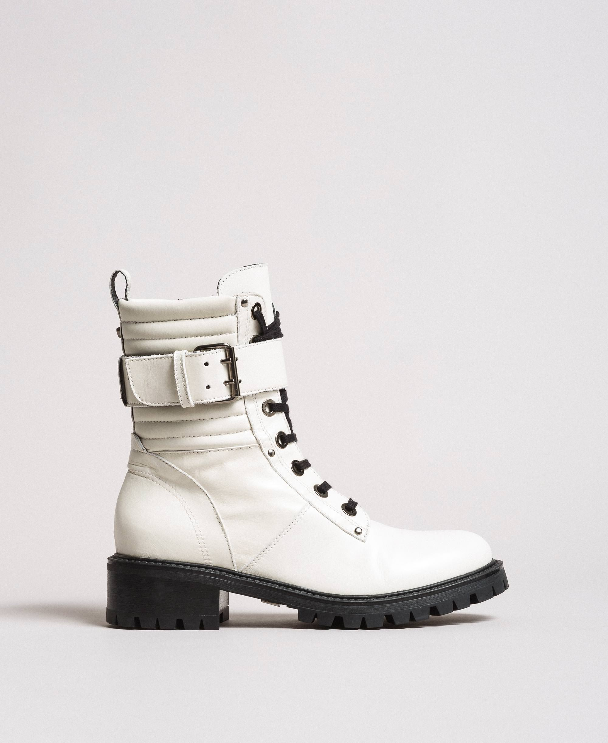 Leather lace-up boots with ankle strap