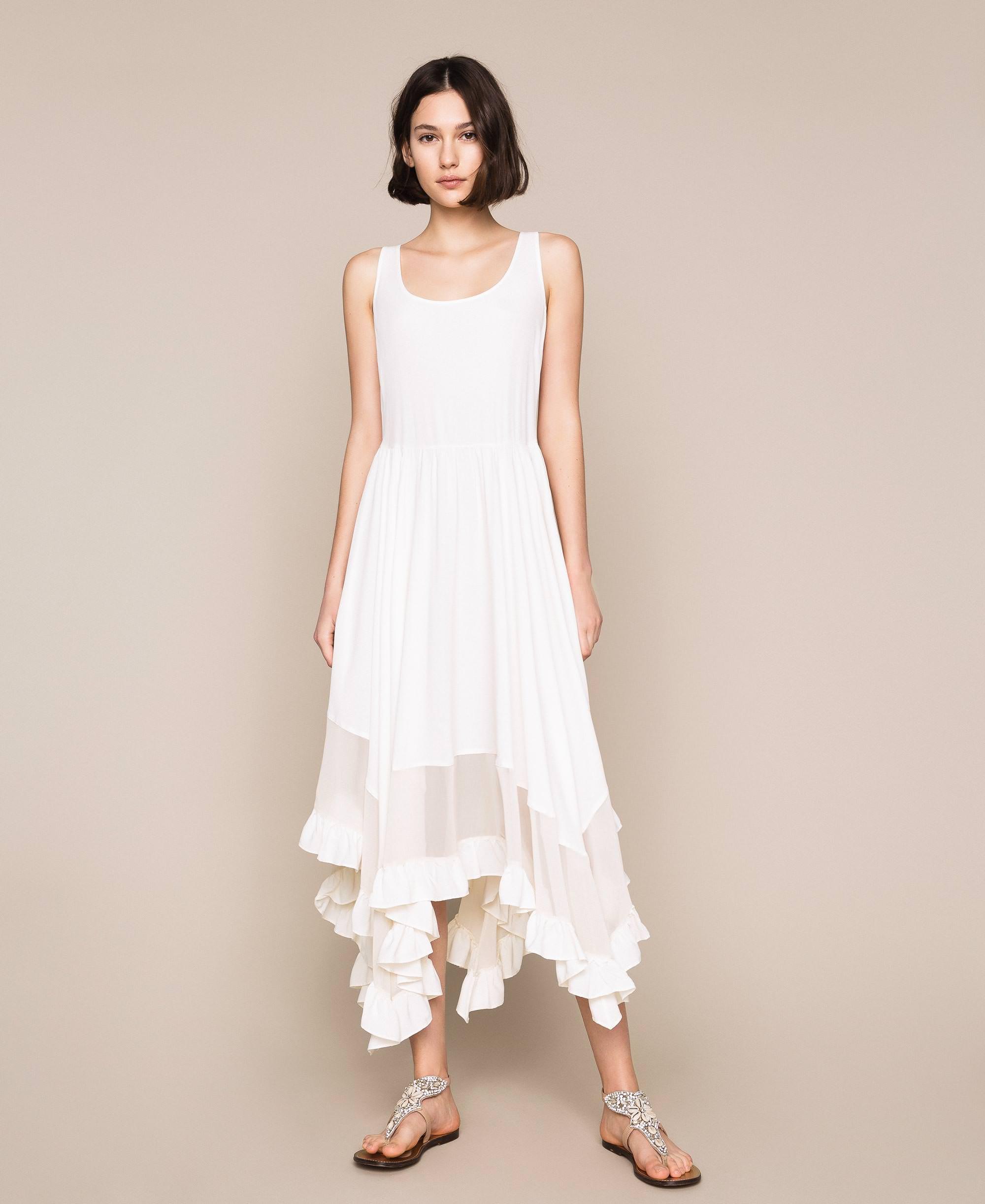 Kleid aus Crêpe de Chine aus Seidenmischung Frau, Weiß  TWINSET