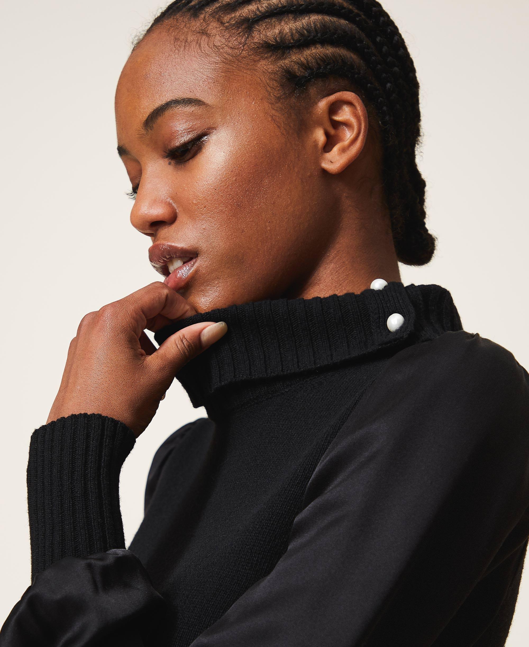 kleid aus wollmischung mit satin frau, schwarz | twinset milano