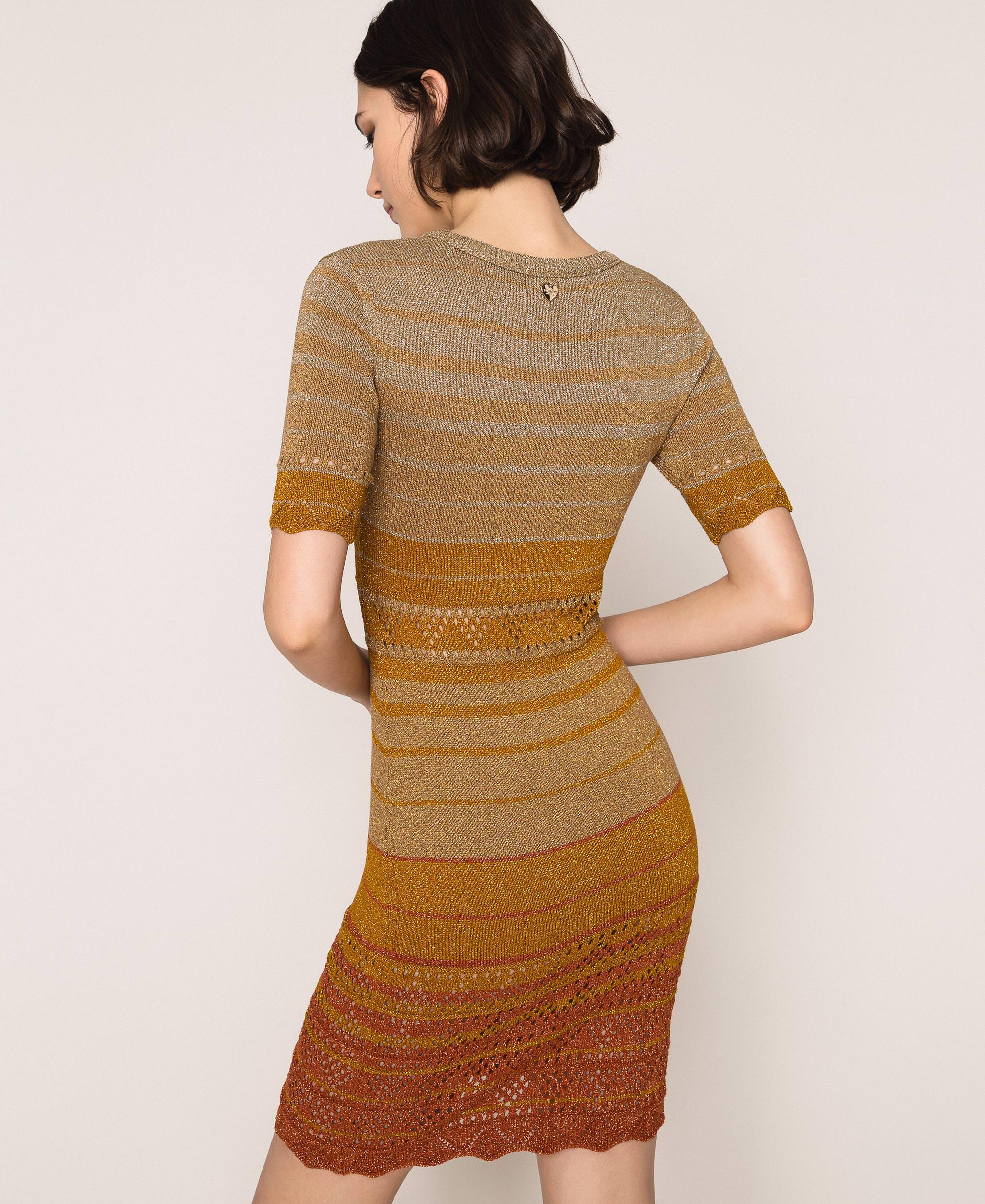Gestreiftes Kleid Aus Lurexgarn Frau Gold Twinset Milano