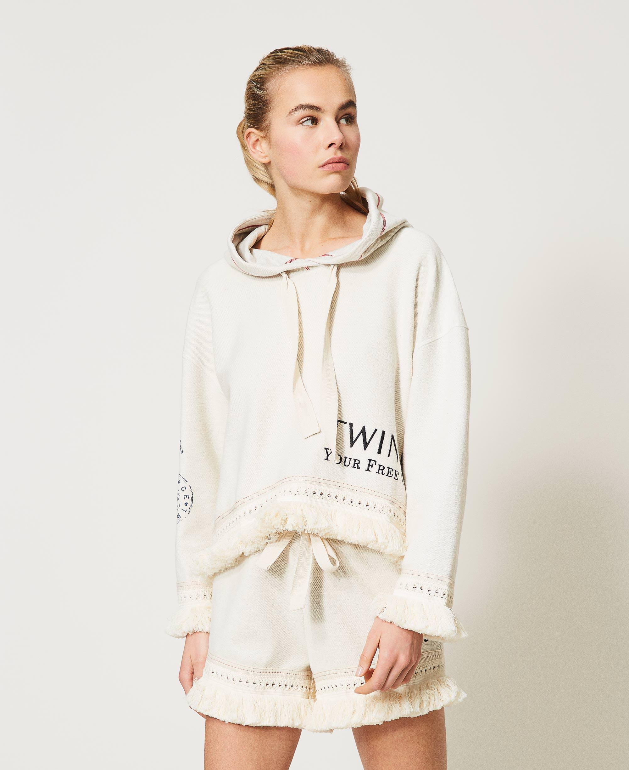 Felpa con logo e frange Donna, Bianco | TWINSET Milano