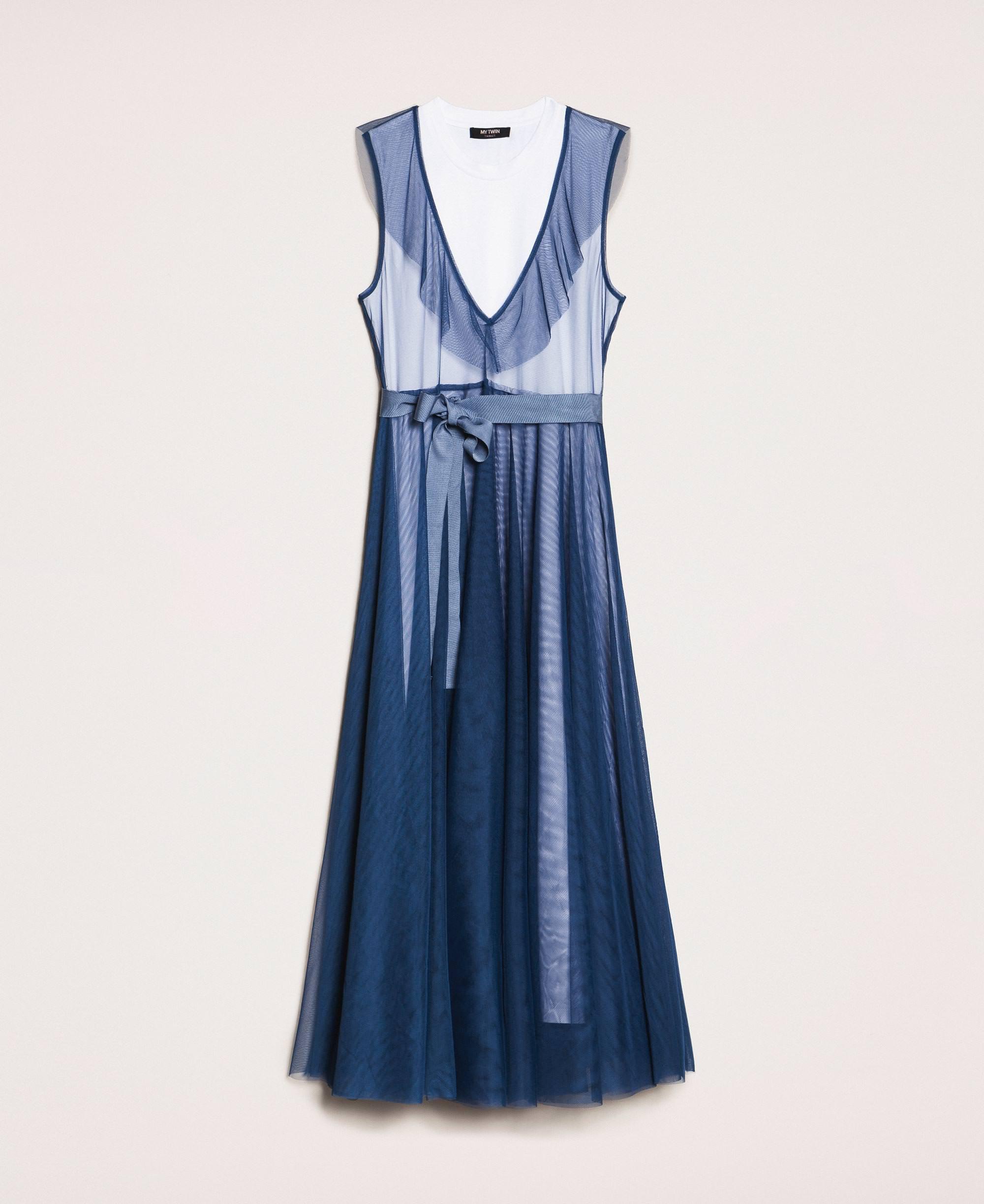 Robe longue en tulle avec volant Enfant, Bleu | TWINSET Milano
