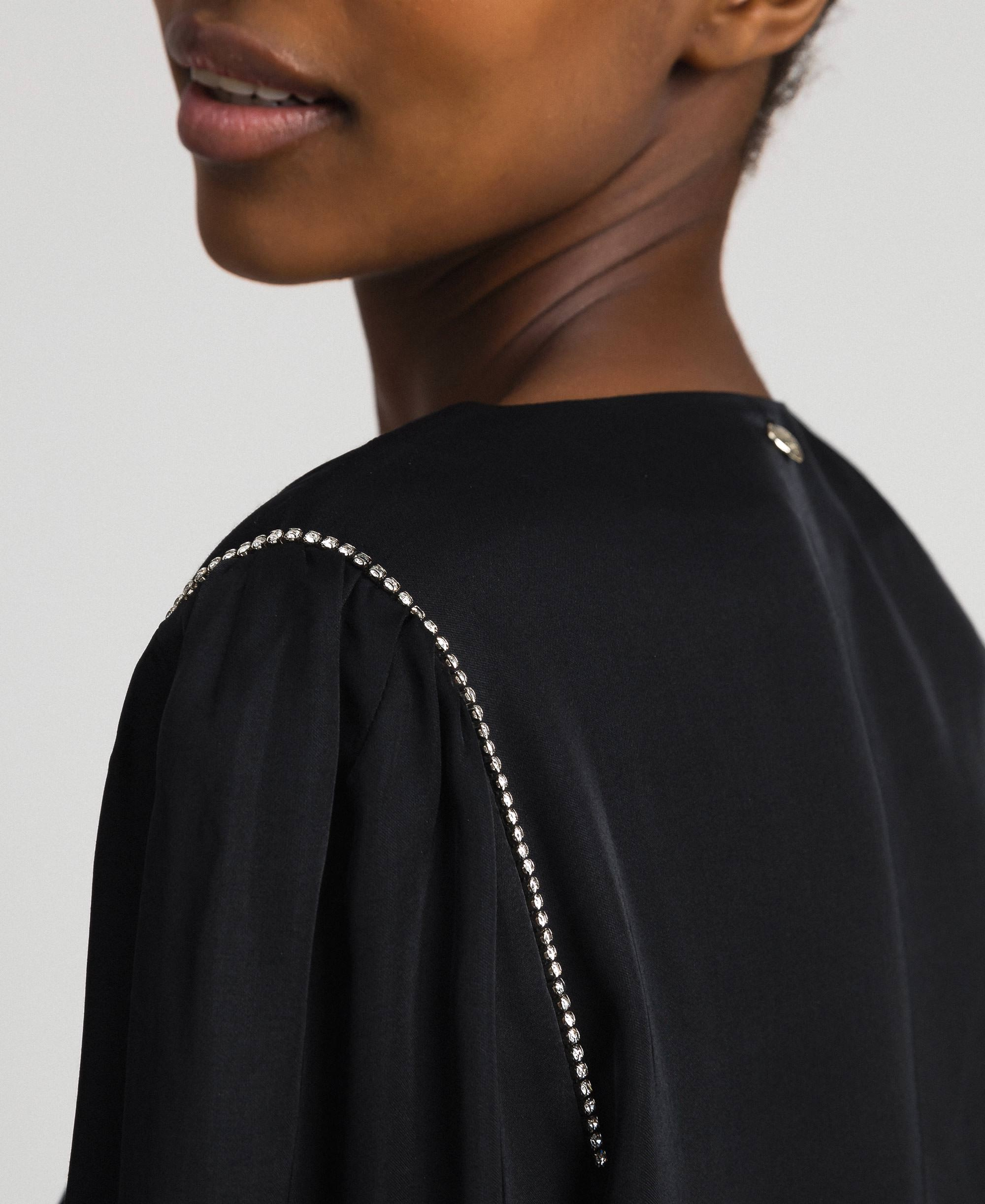 kleid aus satin mit strass frau, schwarz | twinset milano