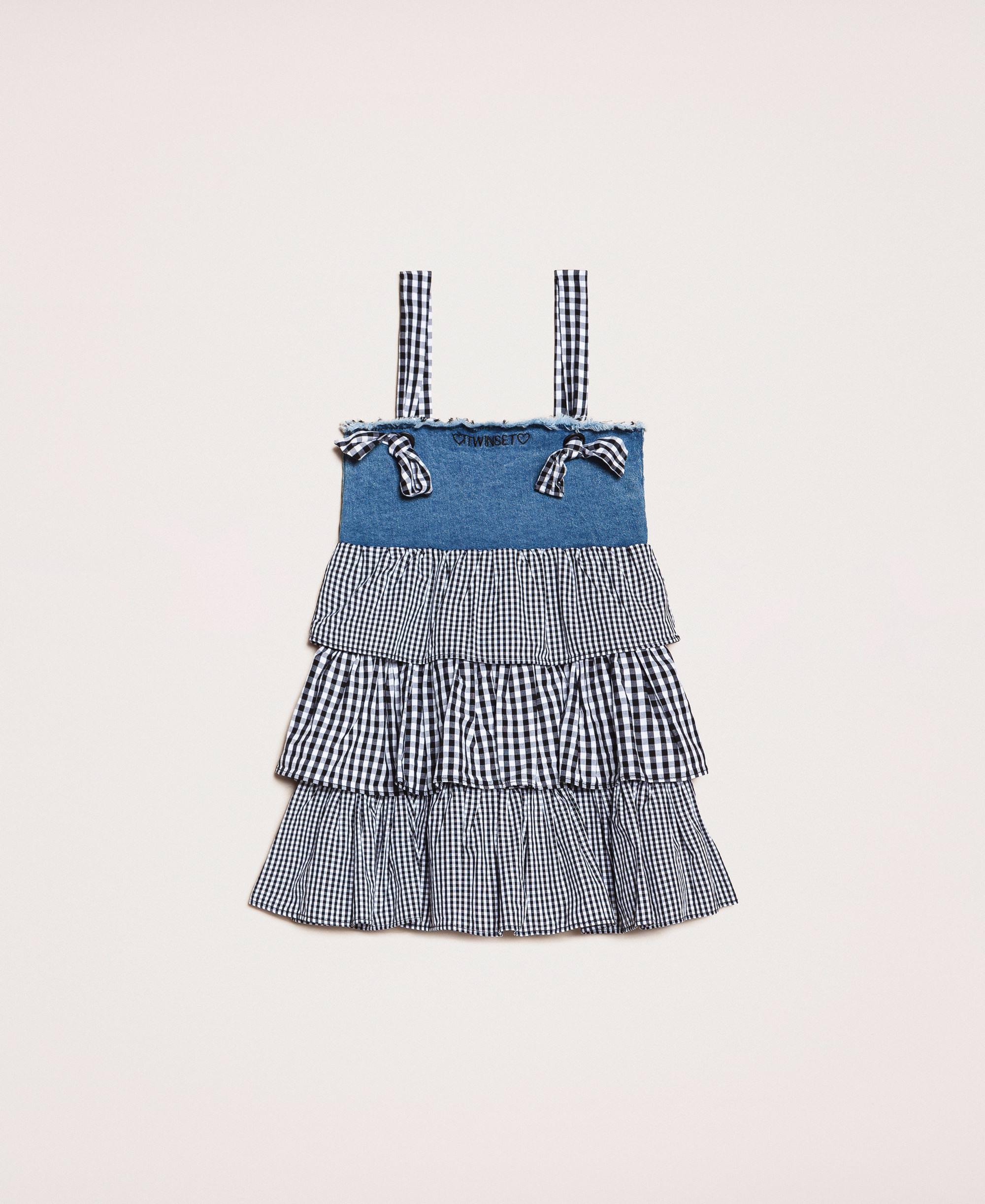 Kleid aus Denim mit Volants im Vichymuster. Kind, Blau  TWINSET