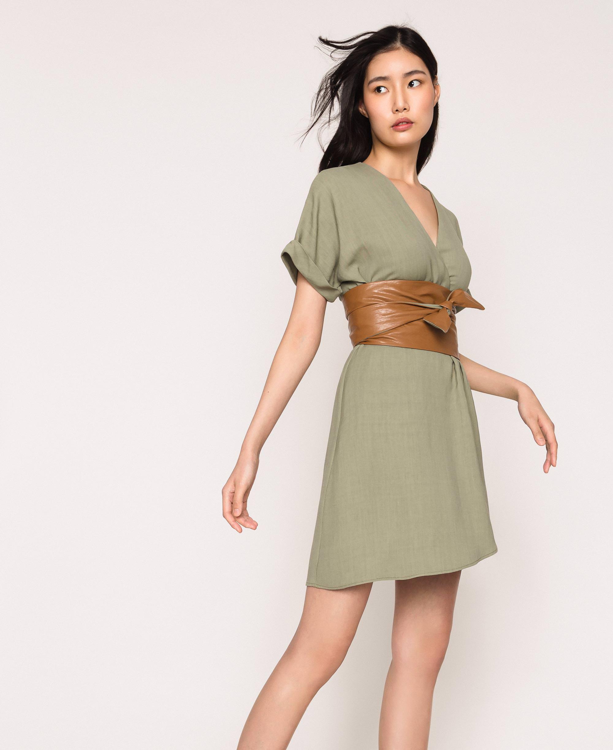 Kleid Aus Canvas Und Lederimitat Frau Grun Twinset Milano