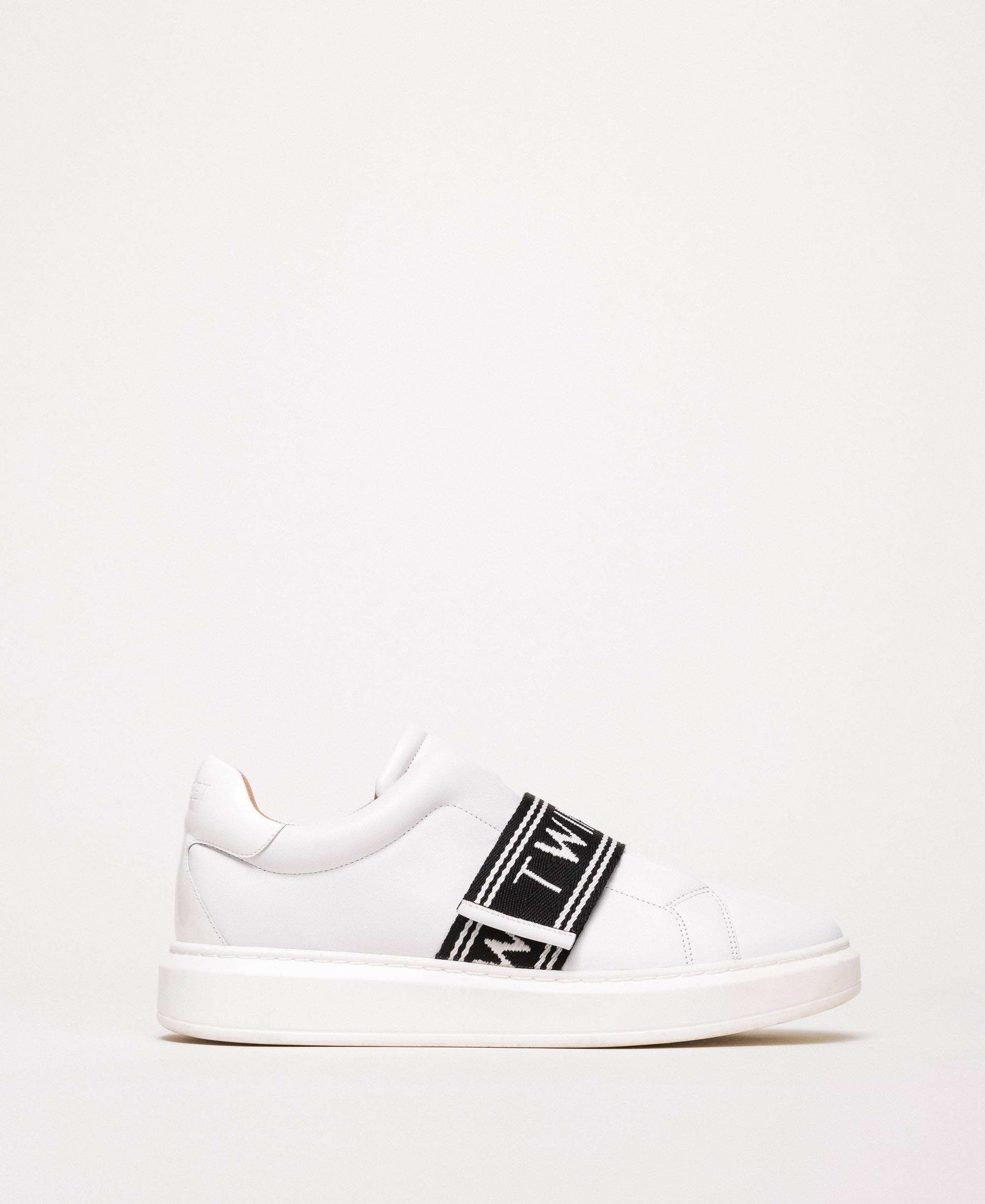 Baskets en cuir avec logo Femme, Blanc | TWINSET Milano