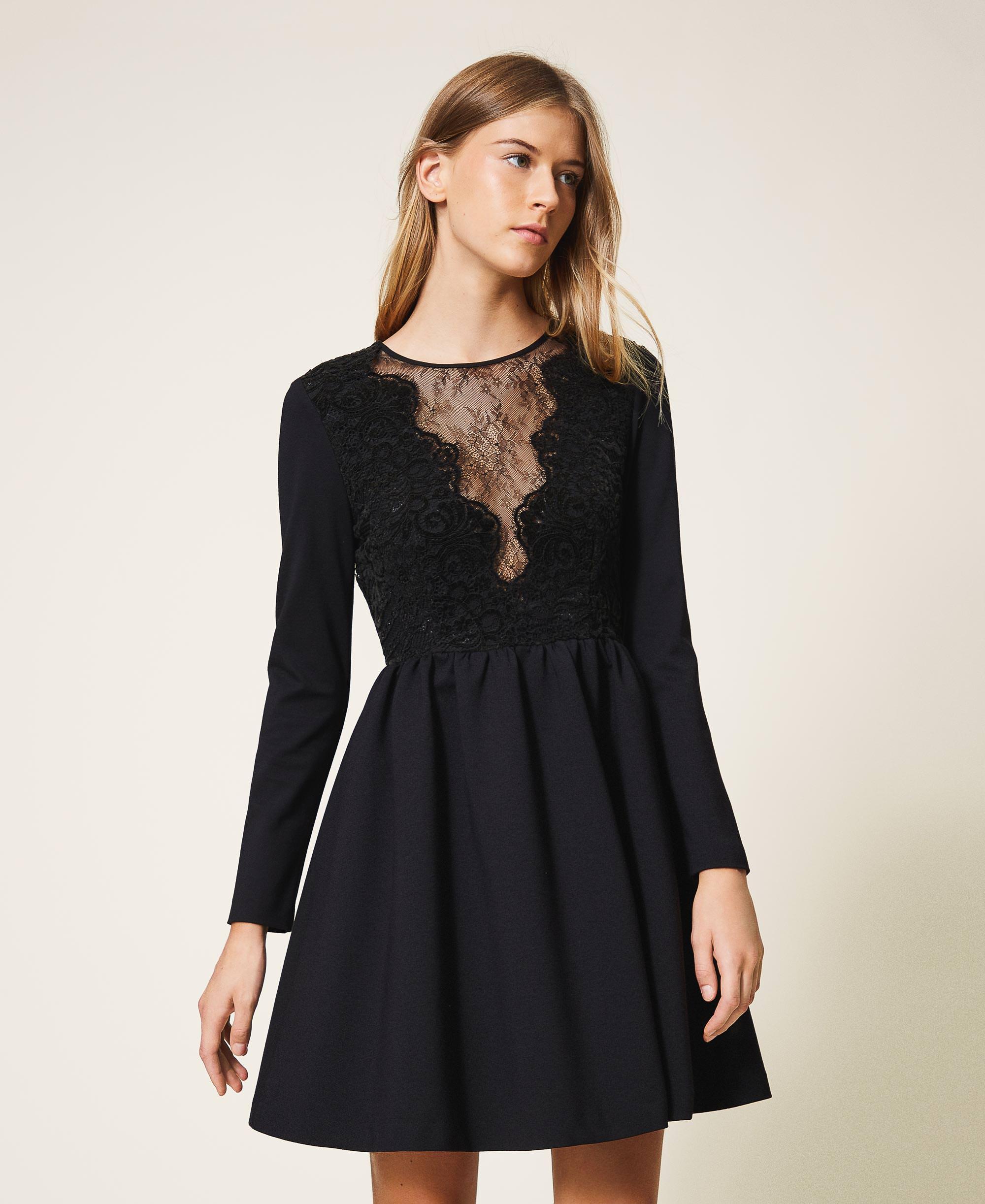 Kleid mit Spitze Frau, Schwarz  TWINSET Milano