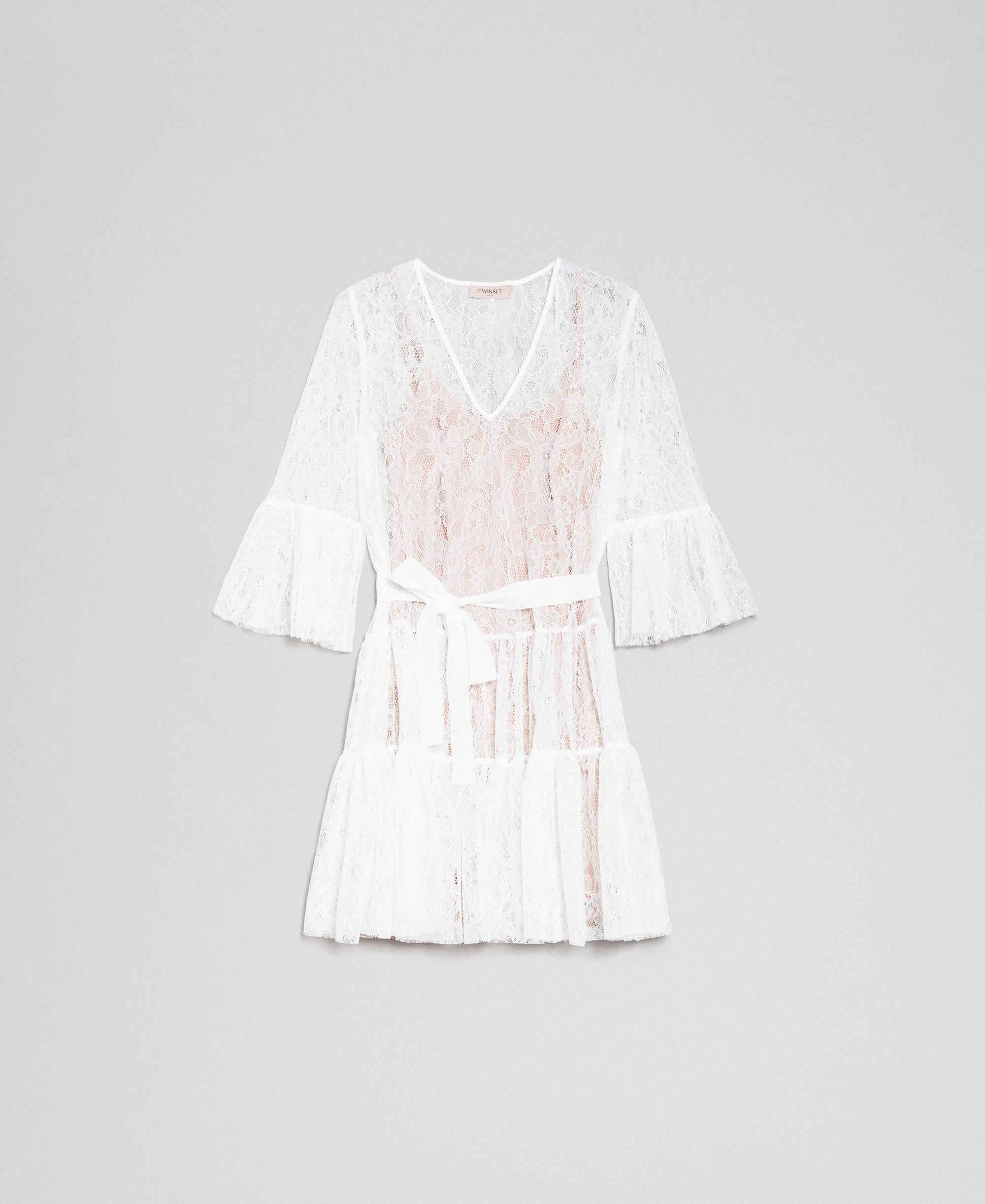 Robe En Dentelle Avec Ceinture Femme Blanc Twinset Milano