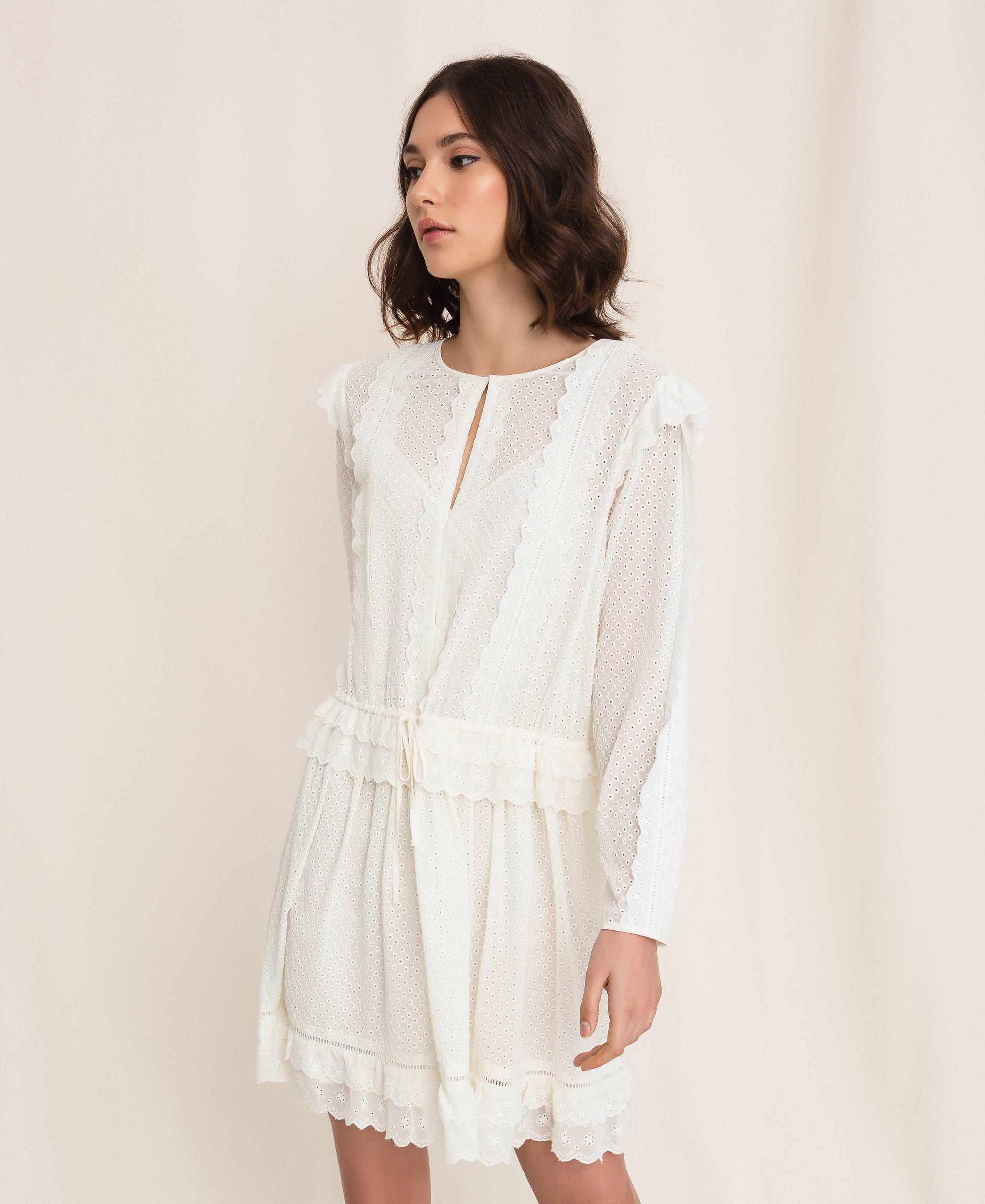 Kleid mit Lochstickerei und Tunnelzug Frau, Weiß  TWINSET Milano