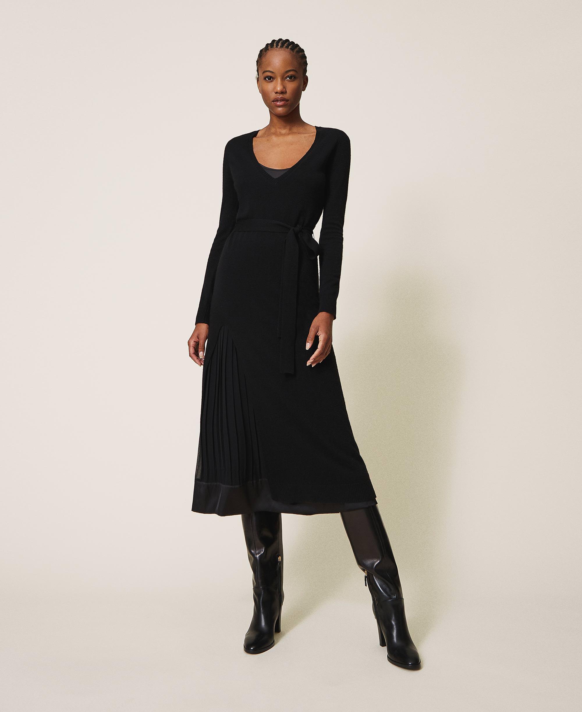 Kleid aus Wollmischung mit Unterkleid Frau, Schwarz  TWINSET Milano