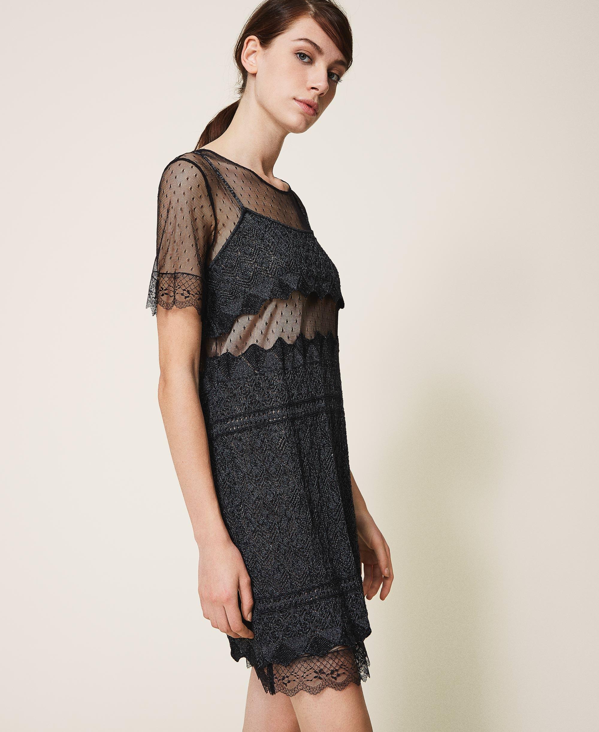Kleid aus Strick in Spitzenoptik mit Tüll Frau, Schwarz  TWINSET