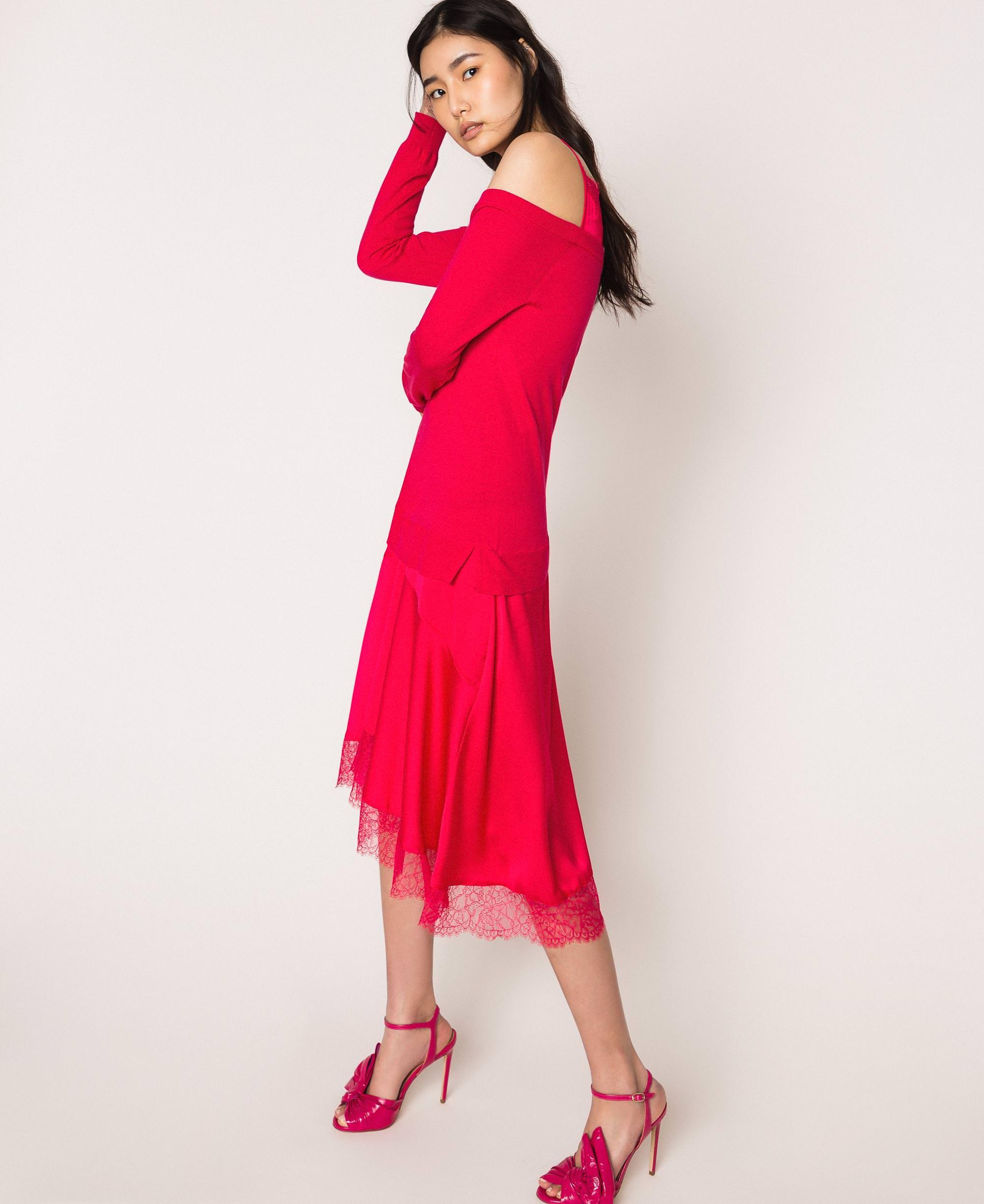 Robe En Maille De Satin Style Nuisette Femme Rouge Twinset Milano